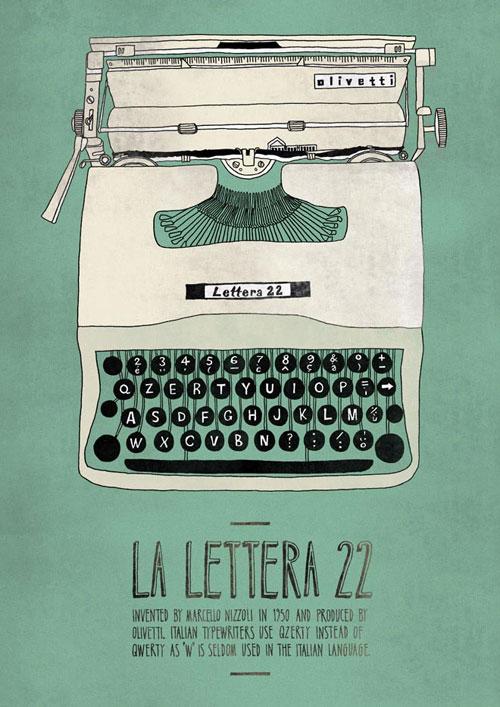 Olivetti Lettera 22 - самая известная модель печатной машинки