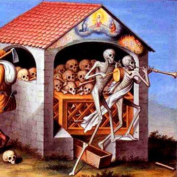 Фрагмент из Пляски Смерти в Базельском монастыре доминиканов.