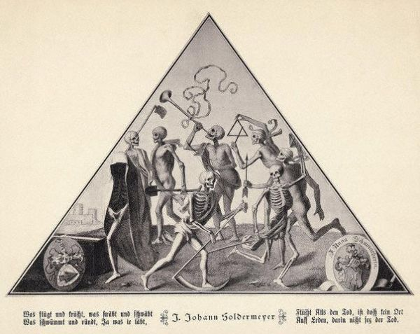 "Illustration depicting the ""Dance of Death,"" by J. Johann Soldermeyer.                              Dancing skeletons play musical instruments while carrying shovels and scythes."