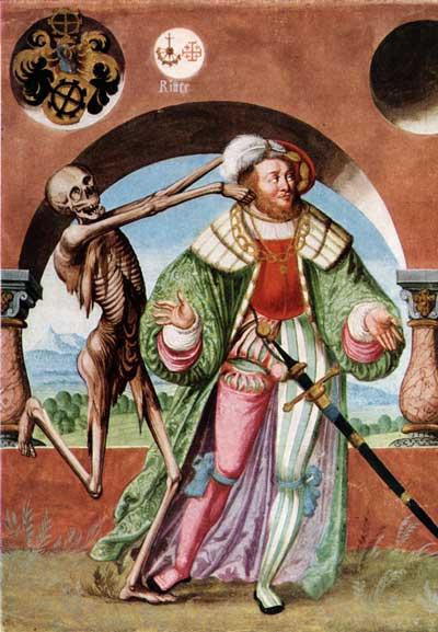 Aus dem Berner Totentanz des Niklaus Manuel. Der Tod und der Herzog.